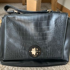 Black Kate Spade purse with Croc embossed leather